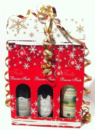 Confezione Natale vini:Tris bottiglie Bacco