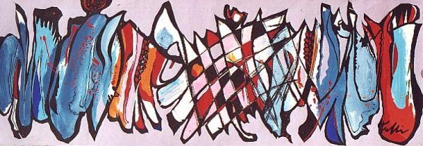 SCACCO MATTO IN ROSA, 1996 - tempera su carta cm. 25X67