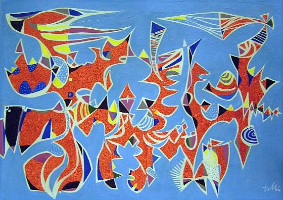 IN ARANCIO E CELESTE, 1974 - tecnica mista su tela cm. 50x70