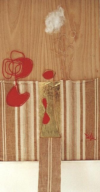 MATERASSO con nuvola e labirinti rosso,2001 mista e collage cm.  44X27