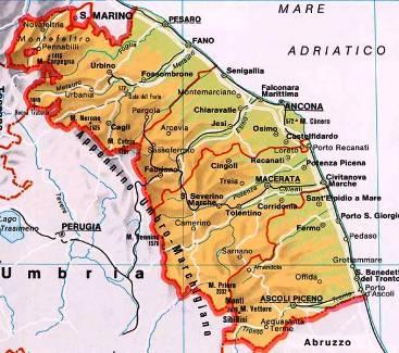 cartina marche; una cartina per vacanze nelle Marche